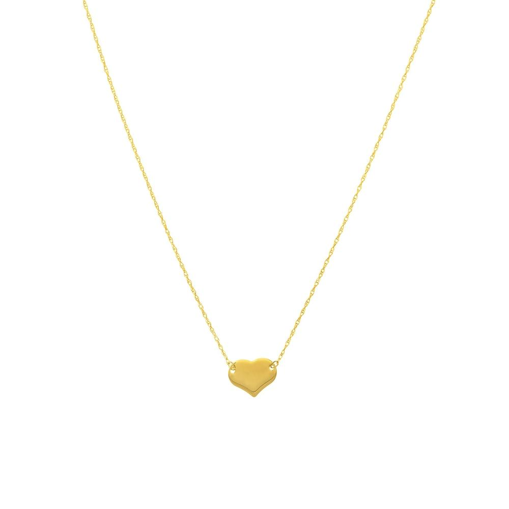 "Mini Heart 16-18"" 14K Yellow Gold Rope Necklace - Gifts under $200"
