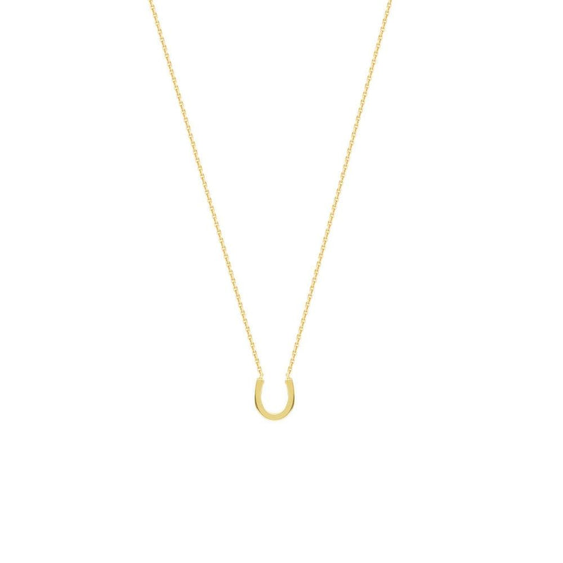 Mini Horseshoe 14K Yellow Gold Necklace
