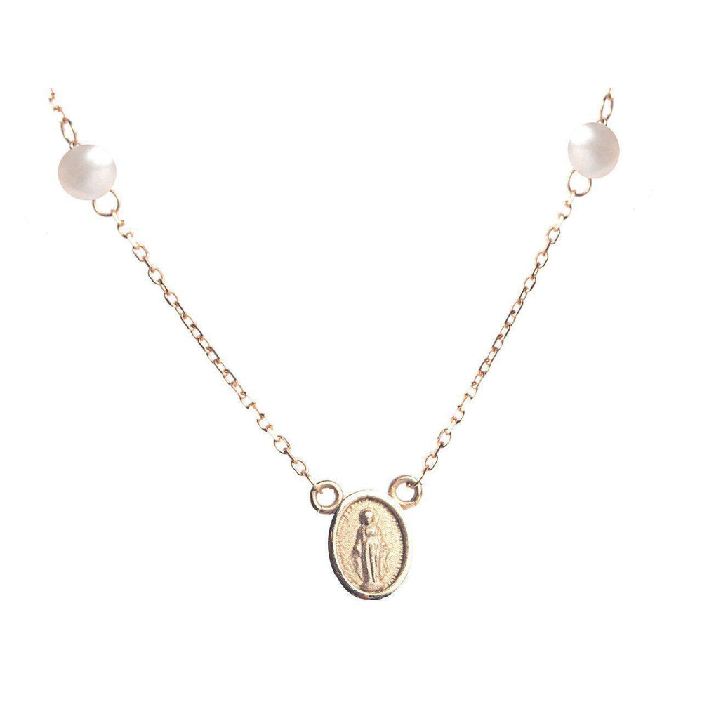 14K Yellow Gold Necklace with a Mini Miraculous Medal and Fresh Water Pearls - Chain Size: 16""