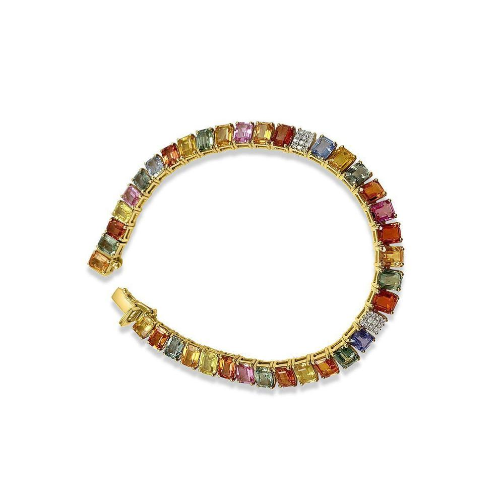 18K Yellow Gold Bracelet with Multicolor Sapphires and Diamonds