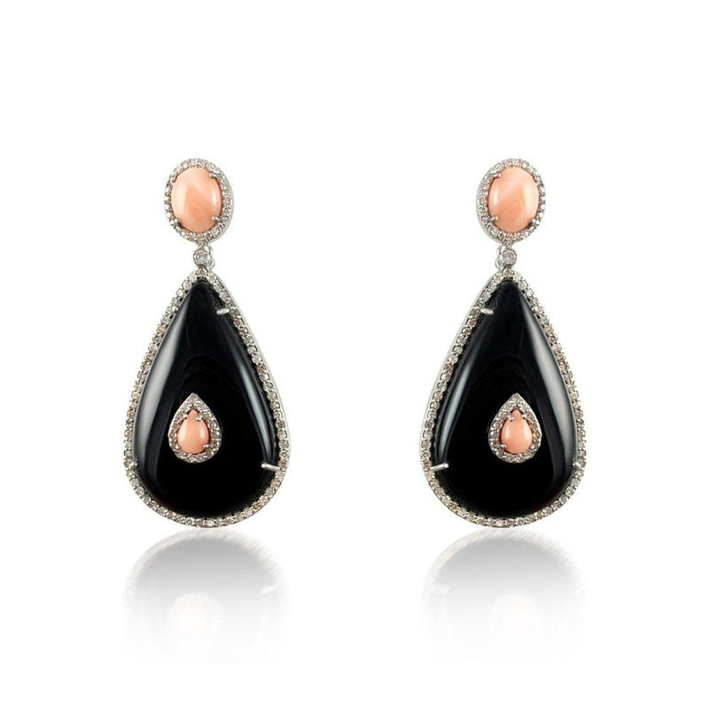 Onyx Coral & Diamond Silver Earrings