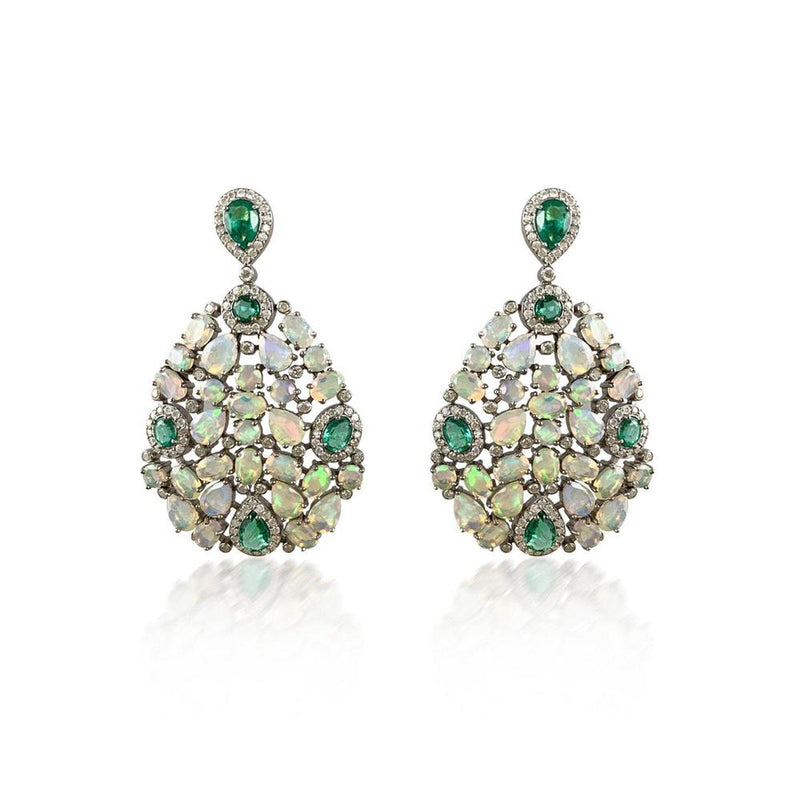 Opal Emerald & Diamond Silver Earrings