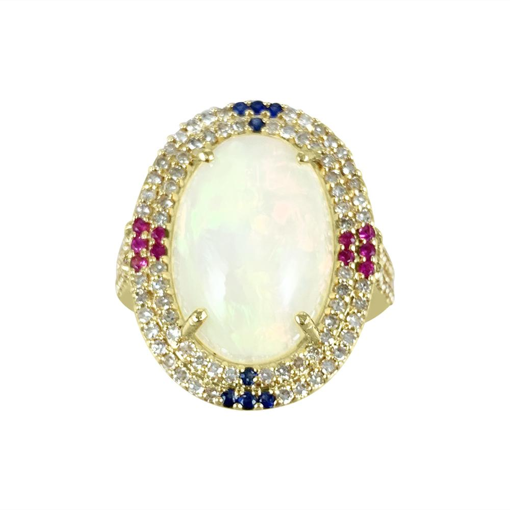 Opal Oval Ring set in 14K Yellow Gold with Diamonds, Rubies and Sapphire