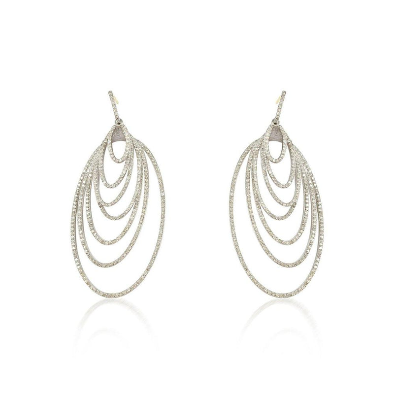 Oval Diamond Silver Earrings