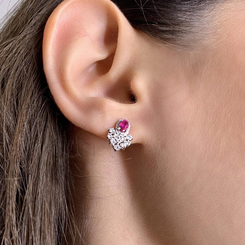 Oval Rubies & Diamond 14K White Gold Earrings