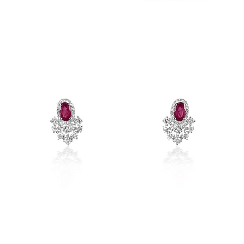 14K White Gold Earrings with Ruby & Diamonds