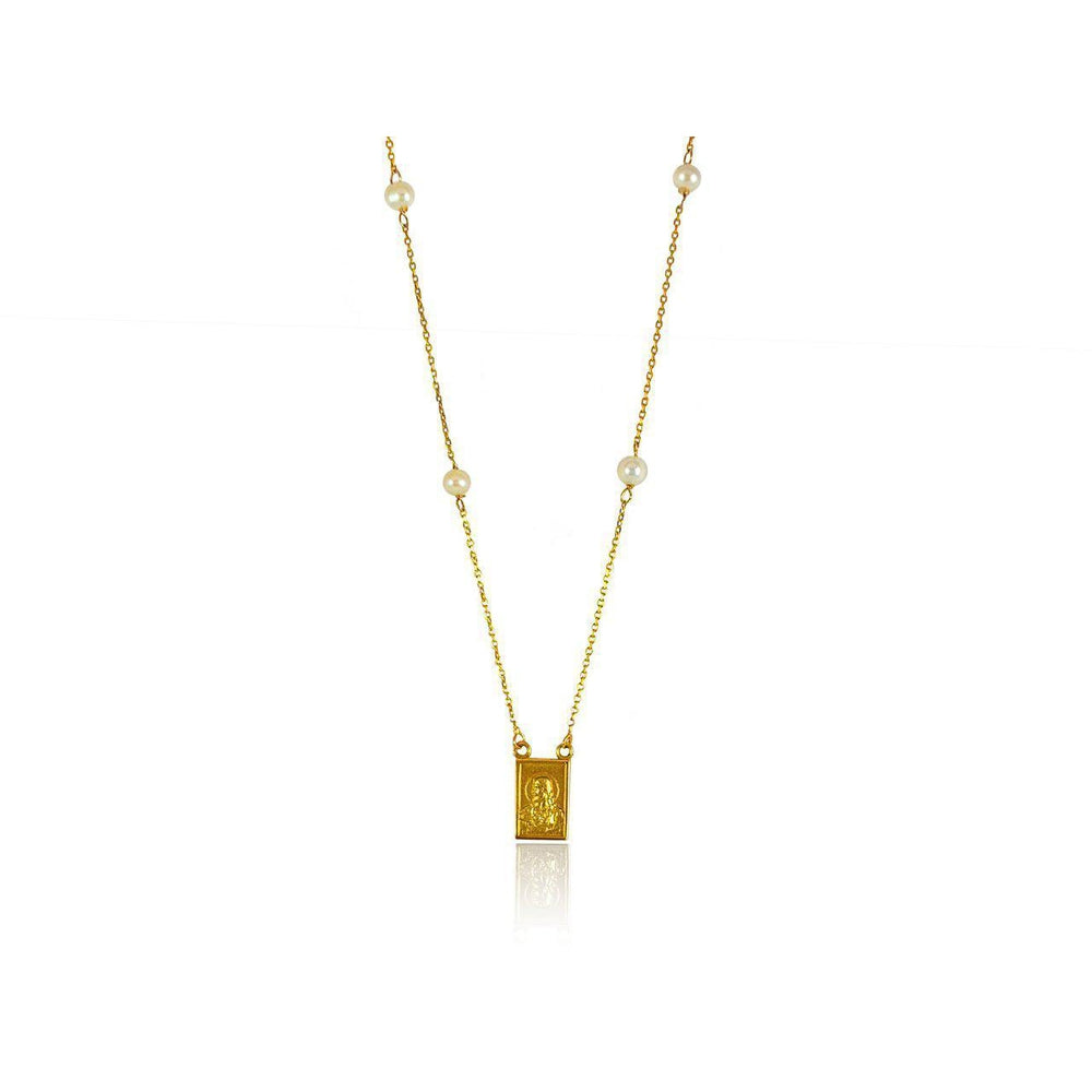 14K Yellow Gold Scapulary with Fresh Water Pearls