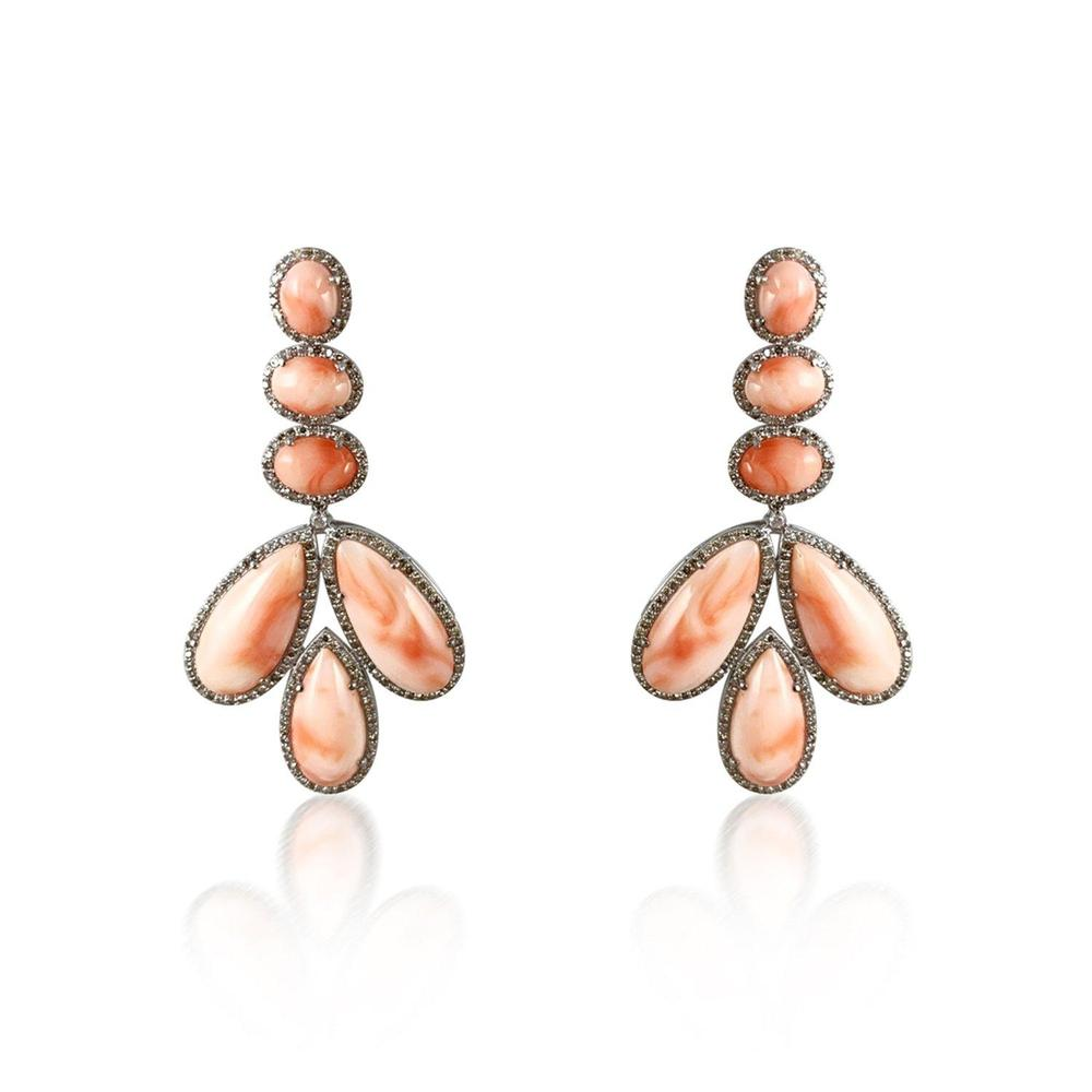 Pink Coral & Diamond Silver Earrings