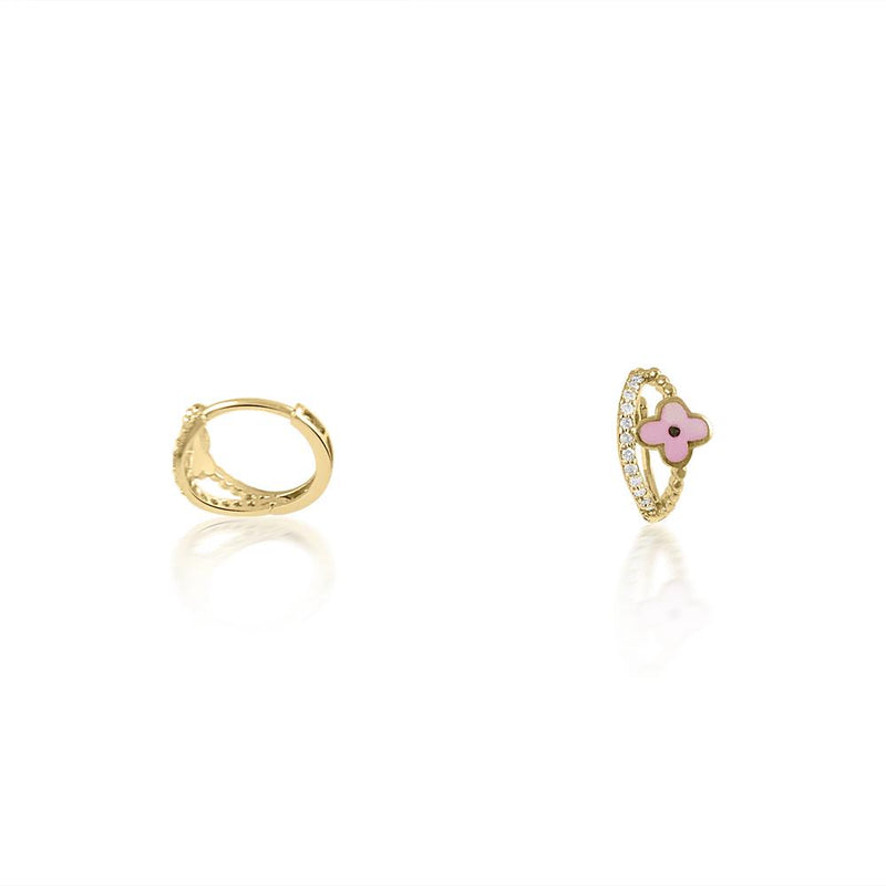 14K Yellow Gold Pink Enamel & Diamond Earrings
