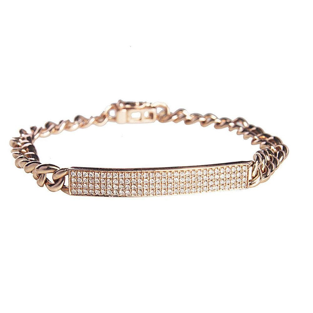 14K Yellow or Rose Gold Bracelet with Diamonds
