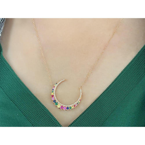 14K Rose Gold Necklace decorated with Multicolor Sapphire Stones