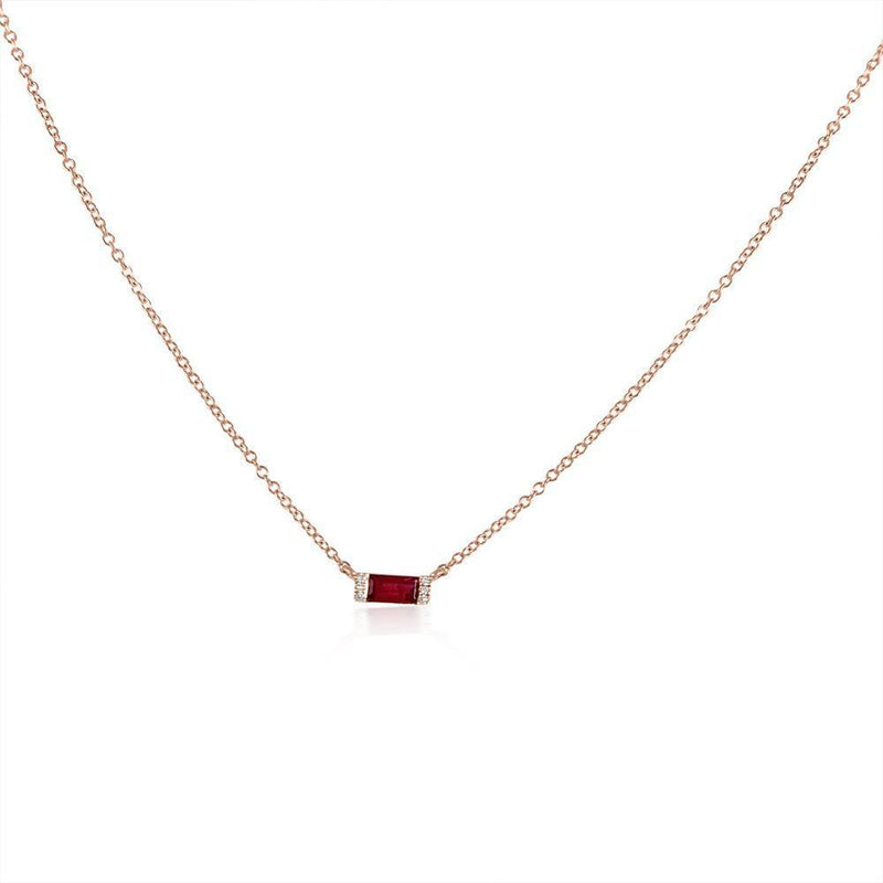 14K Yellow Gold Ruby Diamond Necklace