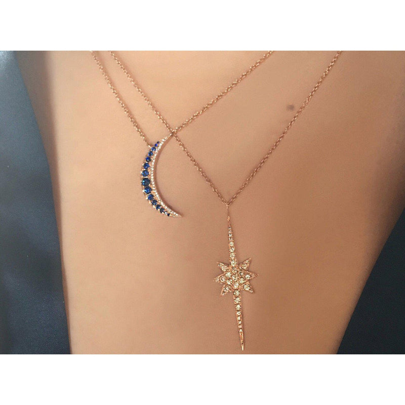 14K Rose Gold or White Gold Crescent Moon Necklace with Sapphires and Diamonds