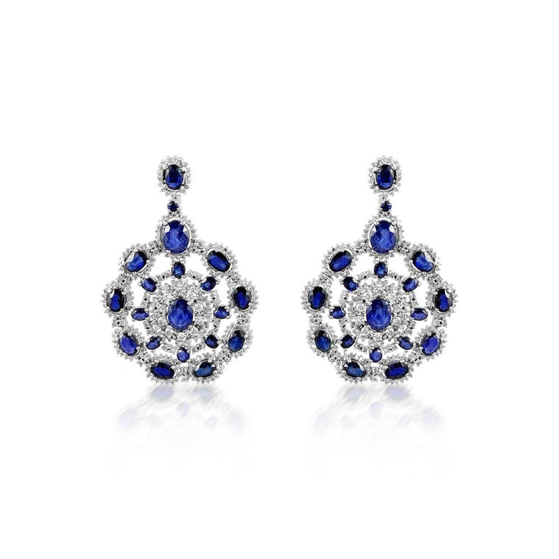 Sapphire & Diamond Silver Earrings