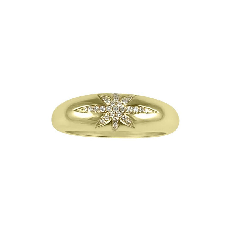 Starburst Dome Diamond Ring 14K Yellow Gold