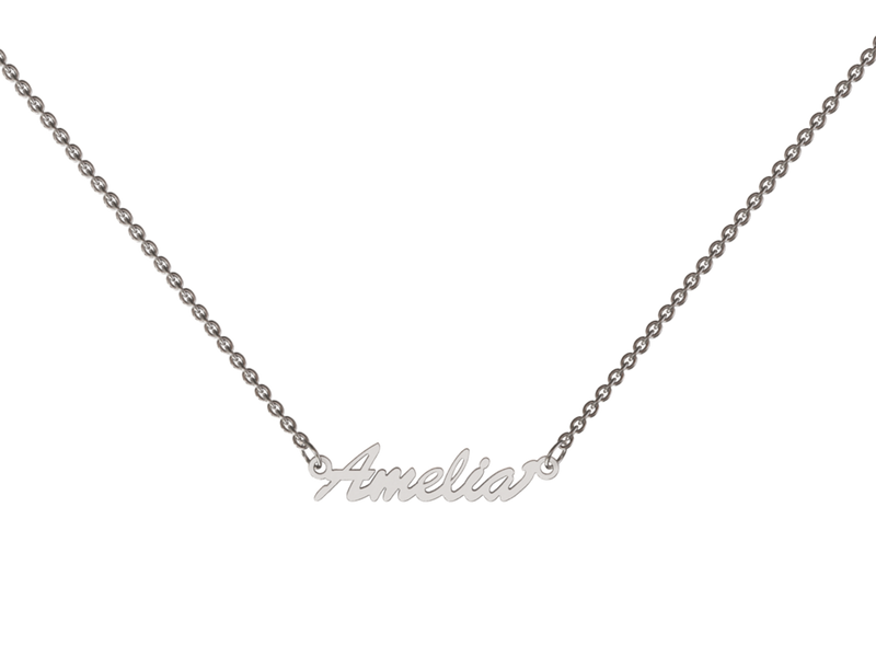 "Personalized Precious Necklace Silver (925) Rhodium Plated  All letters will be crafted in script 16"" necklace easily extends to 18"""