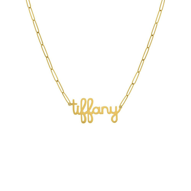 Tiffany Paper Clip Chain 14K Gold Necklace 18""