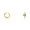 Triangle White Enamel Huggies 14K Yellow Gold & Diamond Earrings