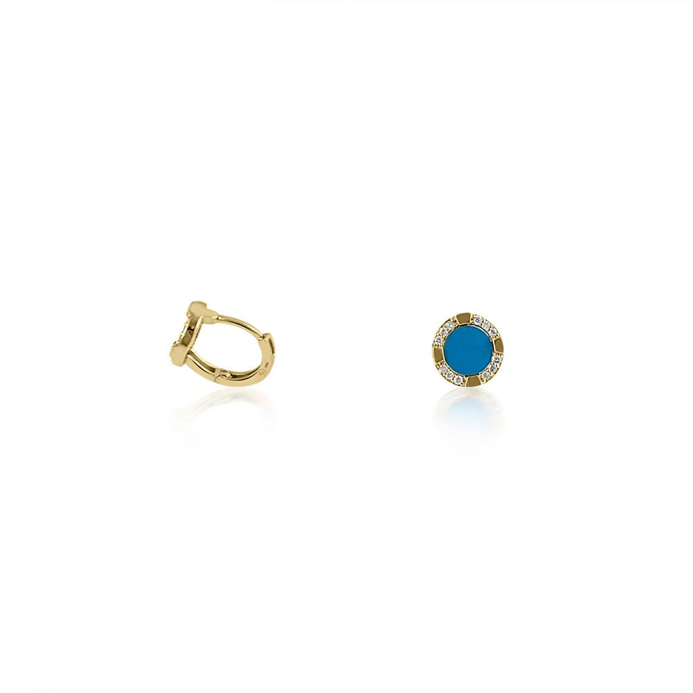 14K Yellow Gold Turquoise & Diamond Earrings