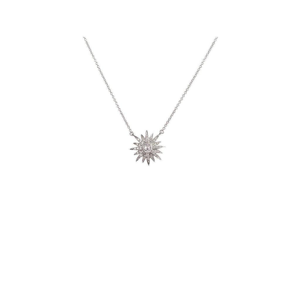 "14K White Gold Necklace with Diamonds  Starburst 1 Diamond of 0.05ct 40 Diamonds of 0.10ct Chain Size: 14""-16""-18"""