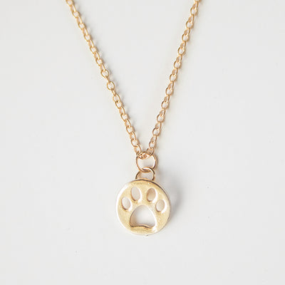 18K Gold Plated Paw Print Pendant