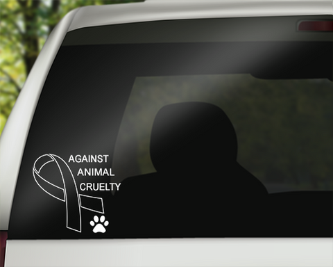 Against Animal Cruelty Vinyl Sticker