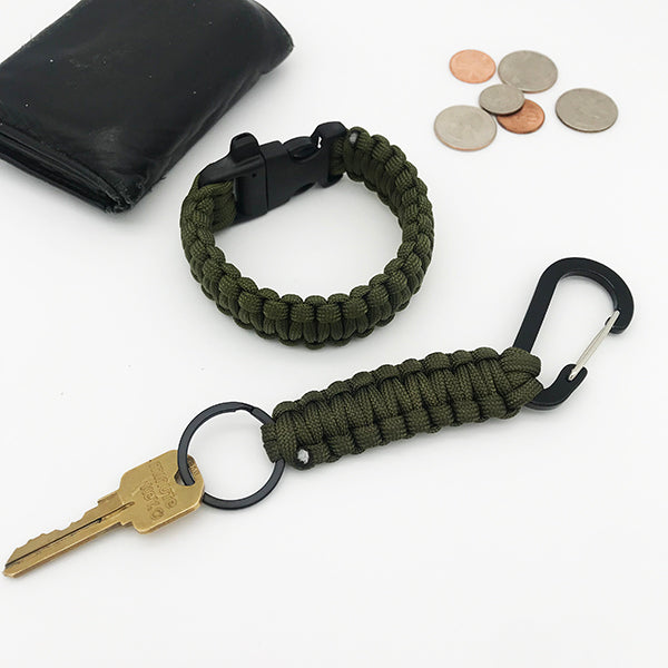 Army Green Paracord Key Chain + Bracelet