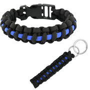 Blue Line Paracord Key Chain