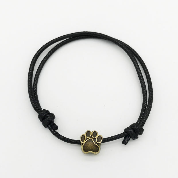 Bronze Paw Charm Adjustable Cord Bracelet