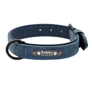 Personalized Blue Leather Pet Collar