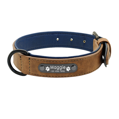 Personalized Brown Leather Pet Collar