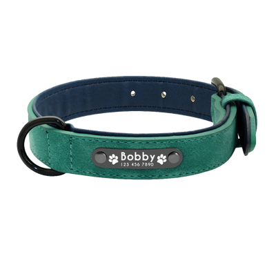 Personalized Green Leather Pet Collar