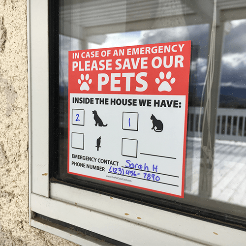 Pets inside the house emergency window sticker the pet care card