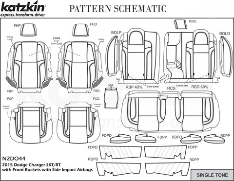 2015-2019 Dodge Charger SXT or RT Katzkin Leather Kit