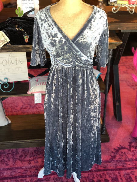 Ice Blue Crushed Velvet Dress