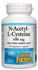 Natural Factors N-Acetyl-L-Cysteine 600 mg Free Form Amino Acid (60 caps)
