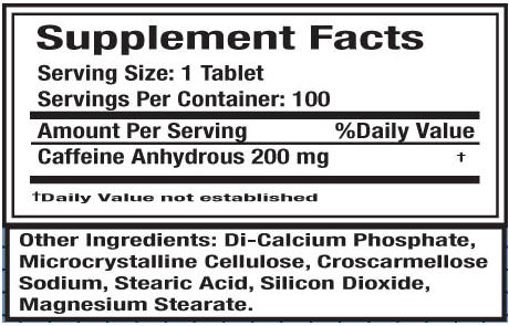 Ingredients for Caffeine 200mg (100 tabs)