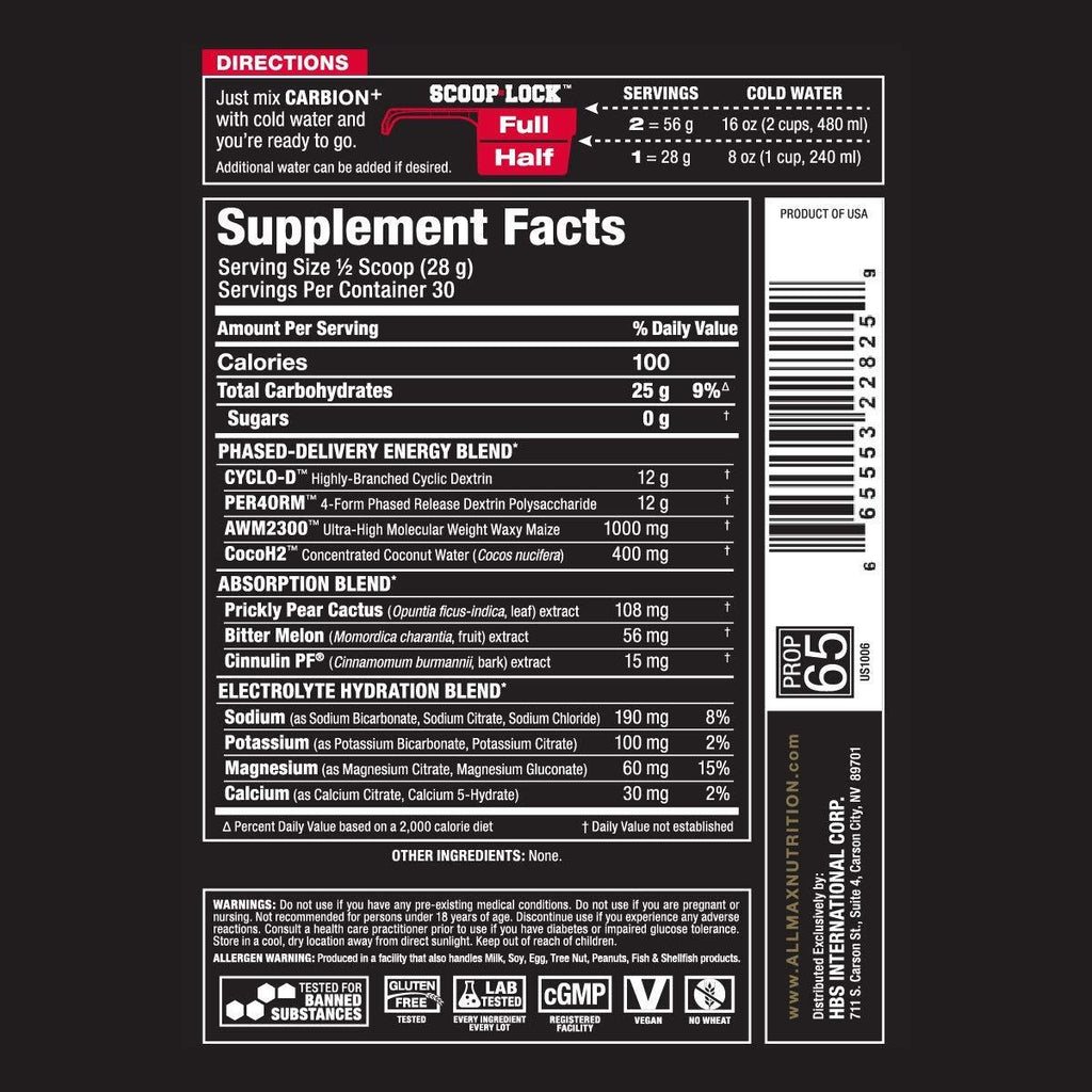 Ingredients for Allmax Nutrition: Carbion+ (840g)