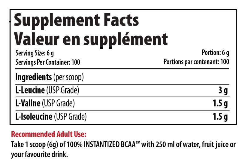 Ingredients for 100% INSTANTIZED BCAA (300g)