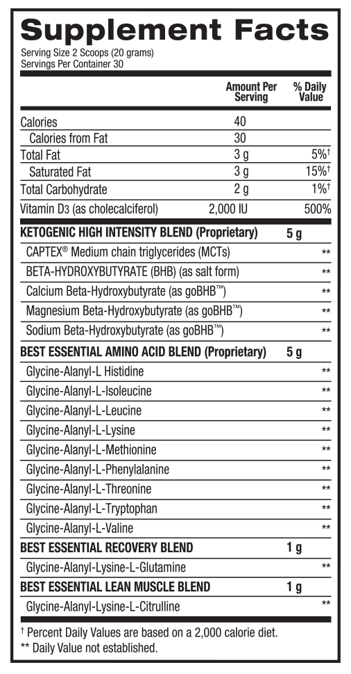 Ingredients for Keto Aminos (30 serving)