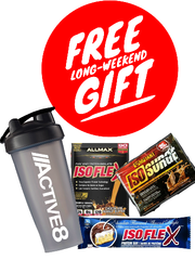 Free Gifts. Received 1 Active8 shaker cup, 1 protein bar and 2 samples for free!