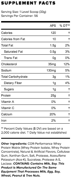 Ingredients for COR-Performance Whey (4 lbs)