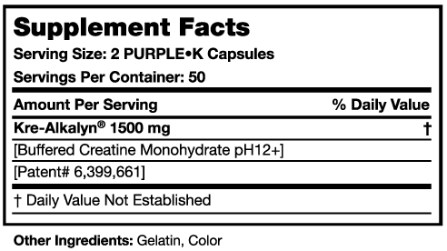 Ingredients for PURPLE-K (100 caps)
