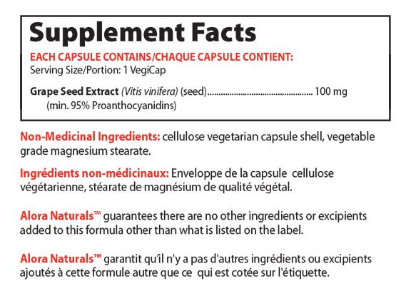 Ingredients for Grapeseed Extract - 100 mg (60 caps)