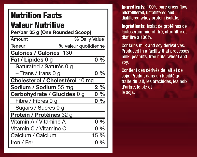 Ingredients for Power Whey Isolate (5 lbs)