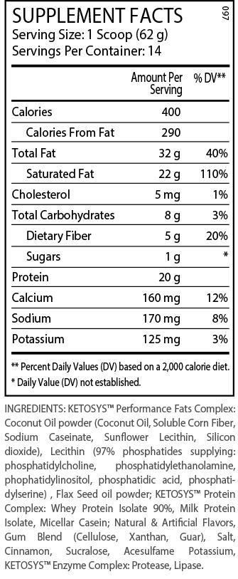 Ingredients for ANS Performance KETOSYS Keto Protein (2lb)