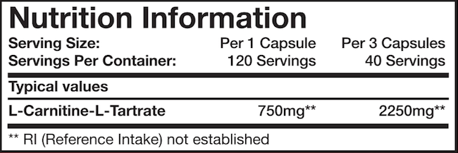 Ingredients for Mutant Carnitine (120 caps)