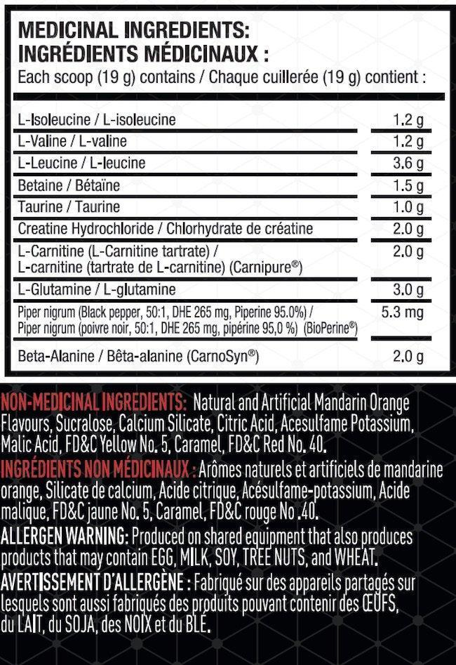 Ingredients for JYM Post Carb (30 servings)