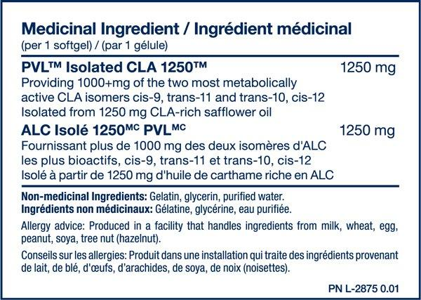 Ingredients for Pure Vita Labs CLA 1250 (180 Softgels)
