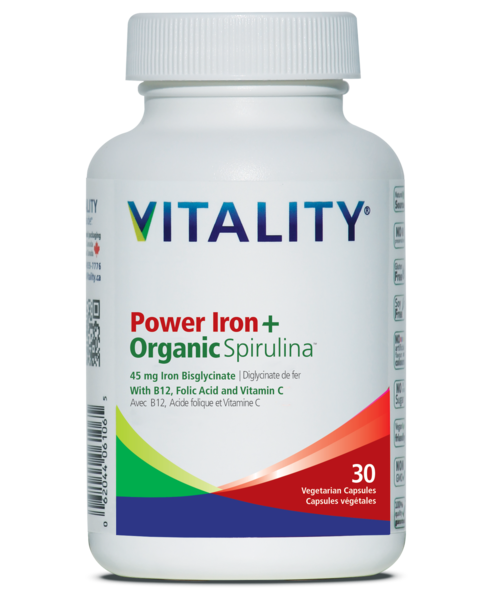 Vitality Greens Power Iron + Organic Spirulina (30 tabs)